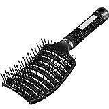Cepillo de Pelo Desenredado Ventilado Cepillo de Pelo Curvo Cepillo de Peinado para Cabello Largo Rizado Grueso Mojado, Unisexo (Negro)