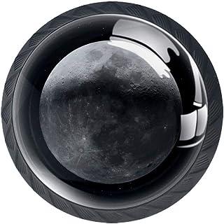 Moon Space Stars - Juego de 4 pomos de cristal ABS para puerta de armario (4 unidades)