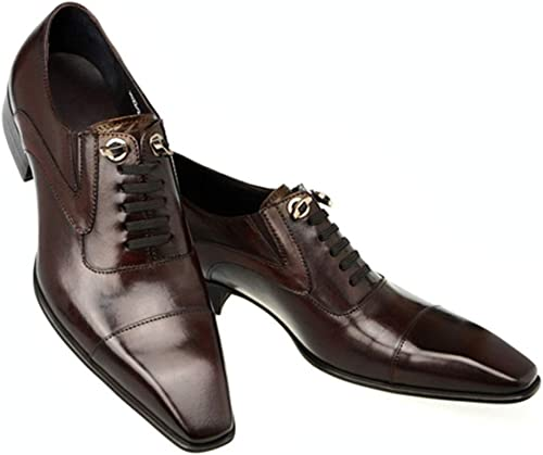 Rui Landed Oxford para Hombre zapatos Formales con Cordones Estilo Cuero de Cuero Elegante Cabeza Cuadrada Costura Individual Discoteca (Color   marrón, tamaño   40 EU)