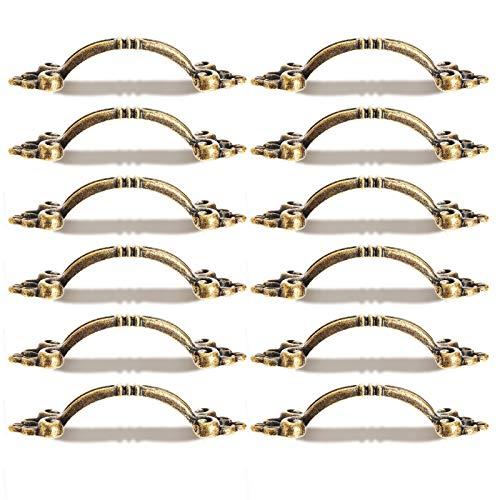 Dophee 取っ手 アンティークおしゃれ すてき ドアノブ 引き出し ミニハンドル ツマミ DIY レトロ調 家具 真鍮 12個セット