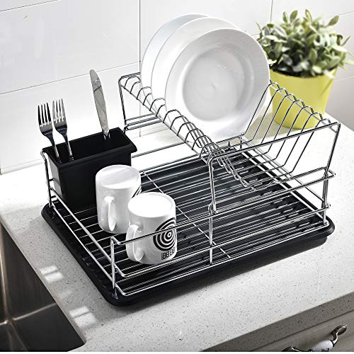Dish Rack,Dish Drying Rack,Quality 2-Tier Sturdy Kitchen Sink Side Counter Top Dish Rack,Dish Drainer Organizer and Drainboard Set Stainless Steel Frame with Black Utensil Holder