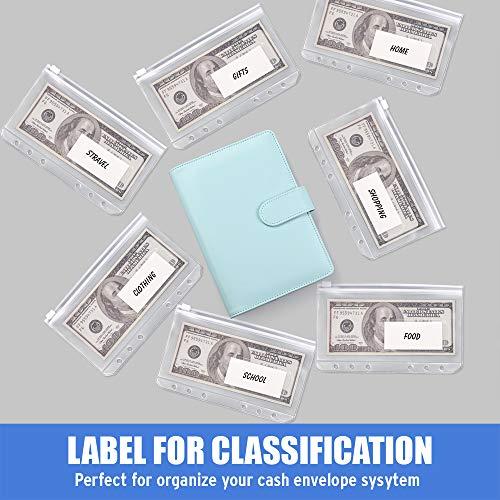 Sooez 12pcs Binder Pockets A6 Binder Zipper Folders, 6 Holes Zipper Binder Pocket with Label Pocket for 6-Ring Notebook Binder, Plastic Clear Zipper Binder Pouch Organizer for Cash, Cards Photo #4
