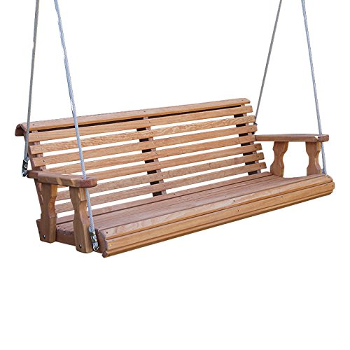 CAF Amish Heavy Duty 800 Lb Roll Back Treated Porch Swing with Hanging Ropes (4 Foot, Semi-Solid White Stain)