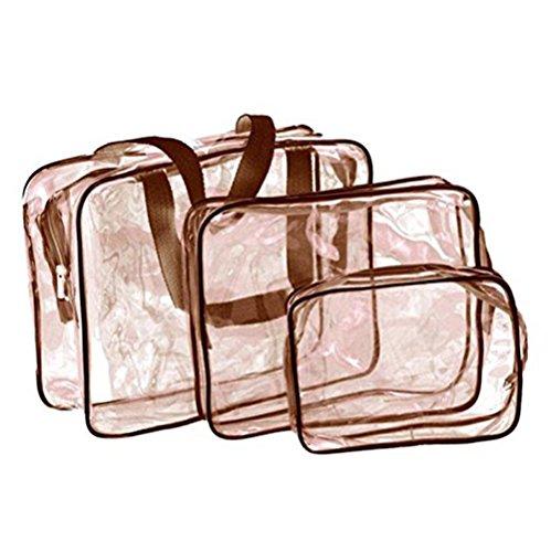 Dylandy Lot de 3 Sacs de Voyage Transparents en PVC Transparent étanche Trousse de Toilette Trousse de Toilette pour Les Vols de Maquillage, de Maquillage à Fermeture Éclair, Marron, 30 * 10 * 22CM