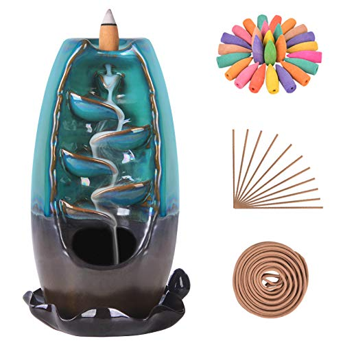 SOLEJAZZ Waterfall Incense Burner Backflow Incense Holder Incense Fountain with 120 Incense Cones & 30 Incense Sticks for Home Office Yoga Aromatcherapy Ornamen