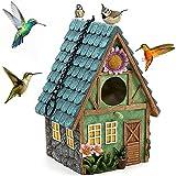 Caseta de pájaros, exterior para casa de pájaro, natural, colgante para mosas azules, colibris, moscas y otros pájaros, salvajes, decoración de interior y jardín, agujero de 40 mm