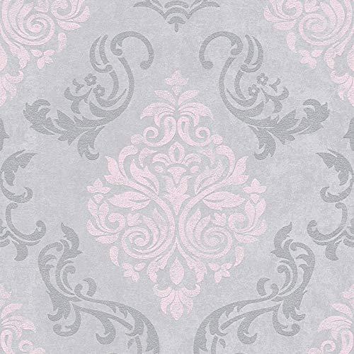 Vliestapete Barock-Tapete Ornament-Tapete 953726 95372-6 Innova Memory 3 | Grau Silber Pink/Rosa | Rolle (10,05 x 0,53 m) = 5,33 m²