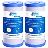 GOLDEN ICEPURE 5 Micron 10' x 4.5' Whole House Big Blue Sediment Activated Carbon Water Filter Compatible with GE FXHTC,GXWH40L,GXWH35F,GNWH38S and Universal Big Blue Water Filter System 2pack