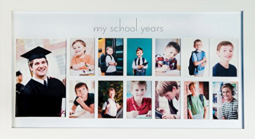 Green Pollywog School Years Picture Day Collage Frame in Elegant Natural Wood, Photos from Kindergarten to Graduation (White)