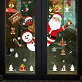 Feliz Navidad Pegatinas de Ventana Divertidos Saludos Extraíbles Decoracion Navideña Regalos para Escaparates árbol de Navidad Papá Noel Vinilos Navideños,Buena adherencia, no se necesita pegamento