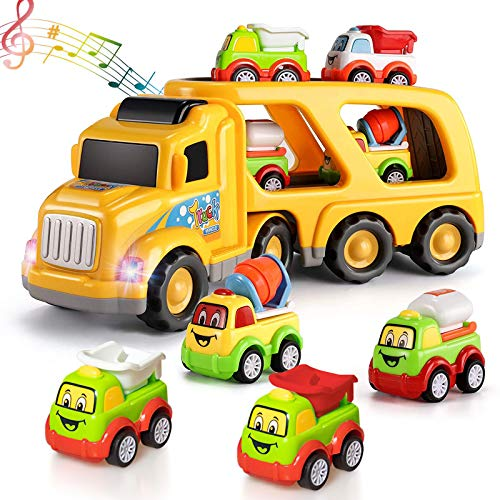 Construction Truck Toys Set with Sound and Light, Contain 1 Large Transport Cargo Truck, Loading car, Cement Mixer, Water Vehicle, 5-in-1 Friction Power Car Toys for 3 4 5 6 Years Old Boys and Girls