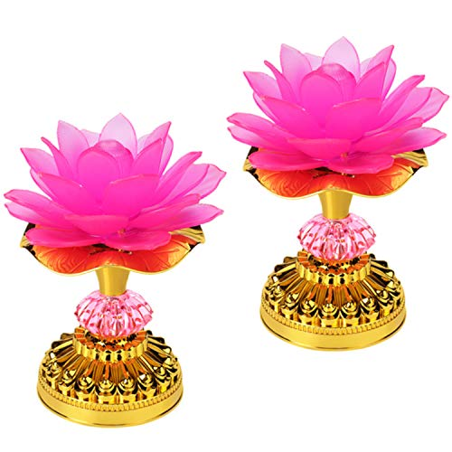 LACGO( Pack of 2 )LED Lotus Buddhist Lights Color-Changing Gradient Buddha Lotus Lamps Plug in or Battery-Operated Buddhist Worship Prayer Faith Supply Things(3.3''W/5.5''H, Pink)