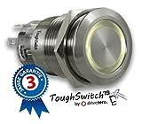 .drivezero. ToughSwitch '19 – Taster Edelstahl (bis 230V / 5A) mit LED-Leuchtring Warmweiss 12V, staub- und wasserdicht (IP67)