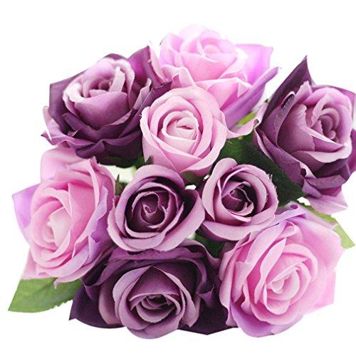 Unechte Blumen Timogee Künstliche Deko Blumen Gefälschte Blumen Seidenrosen Plastik Köpfe Braut Hochzeitsblumenstrauß für Haus Garten Floral Künstliche Fake Roses Flanell Blume (Lila)