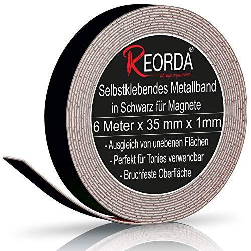 Reorda® Metallband in Schwarz (6m) - Ideal für Tonie Tribüne, Magnete & Tonie Figuren dank hohem Metallanteil - Metallband Selbstklebend ist dank biegsamen Material an vielen Oberflächen verwendbar