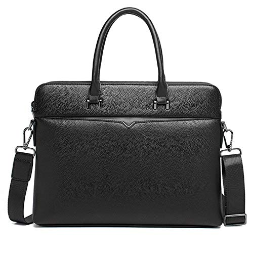 Pinle 15 Inch Laptop Satchel Messenger Bag Mens PU Leather Briefcase for Business Work Office Valentines Gifts for Him (Color : Black)