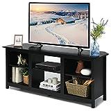 COSTWAY 2-stufiger TV Schrank 147cm, Fernsehschrank TV-Kommode für Fernseher bis 165 cm, Sideboard Fernsehtisch mit Regale, Wohnzimmerschrank Küchenschrank Holz (Schwarz)