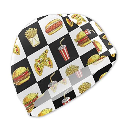 Lanswim Swim Cap for Girls Boys Kids Teens, Waterproof Hair Swimming Caps Special Printed Kids Comfortable Fit Swim Cap for Hamburger Hot Dog Fries