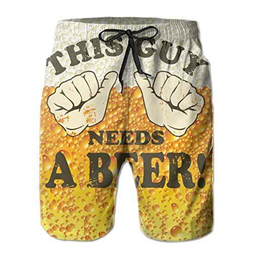 Feng Huang Deze kerl heeft bier heren nonchalant zwembroek shorts Quick Dry Board Shorts met zakken