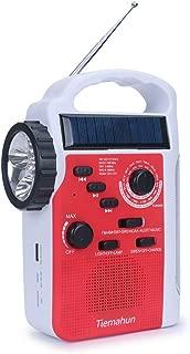 Tiemahun Dynamo Solar Hand Crank Emergency FM/AM/SW NOAA Alert Radio with MP3 Player Support SD Card LED Flashlight Reading Lamp Siren and 2300mAh Power Bank (Red)