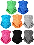 Kids Neck Gaiters Bandana Reusable UV Protection Face Covering Scarf Washable Balaclava for Boys Girls (8 Colors,8 Pieces)