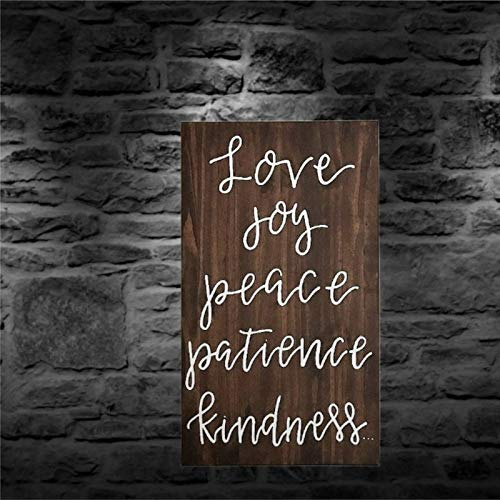 BYRON HOYLE Letrero de madera con texto en inglés «Love Joy Peace Paz», decoración rústica para sala de estar, guardería, dormitorio, porche, pared de galería
