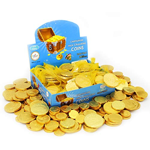 Hanukkah Chocolate Gelt - Milk Chocolate Coins, Made in Israel, OU-D Kosher Cholov Yisroel Chanukah Coins Box of 24 Mesh Sacks, 72 Coins (0.42 oz each)