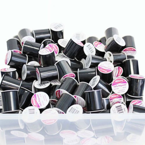 24 Pack Bulk Buy Allary 100% Polyester 200 Yds Sewing Threads (Black )