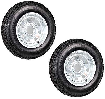 Two Trailer Tires On Rims ST175/80D13 175/80 B78-13 5 Lug Galvanized Spoke Wheel