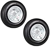 Two Trailer Tires On Rims ST175/80D13 175/80 B78-13 5 Lug Galvanized Spoke Wheel