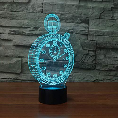 Reloj de bolsillo con luz nocturna en 3D, lámpara LED 3D, ambiente RGB 3D, luz nocturna multicolor, juguete para niños, dormitorio, escritorio, mesa, como regalo decorativo para niños