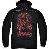 Kiss Hard Rock Metal Band Fucsia Illustration Sudadera con Capucha para Adulto Negro Negro (M