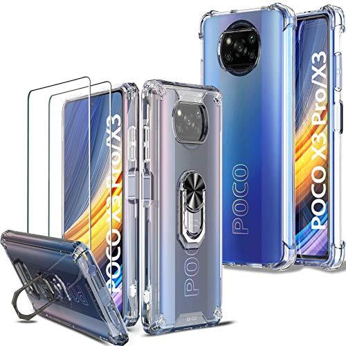Milomdoi [4 Articulos 2 Pcs Funda para Xiaomi Poco X3 Pro/Poco X3 NFC + 2 Pack Cristal Templado [Parte Posterior de plástico Duro&Marco de 360°TPU Flexible + TPU Funda] [Grado Militar]