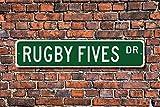 EpochSign Panneau en métal avec Inscription « Rugby Fives » pour Fan de Handball, Jeu de squashlike pour Garage, Maison, Cour, clôture de Rue, 10 x 40 cm