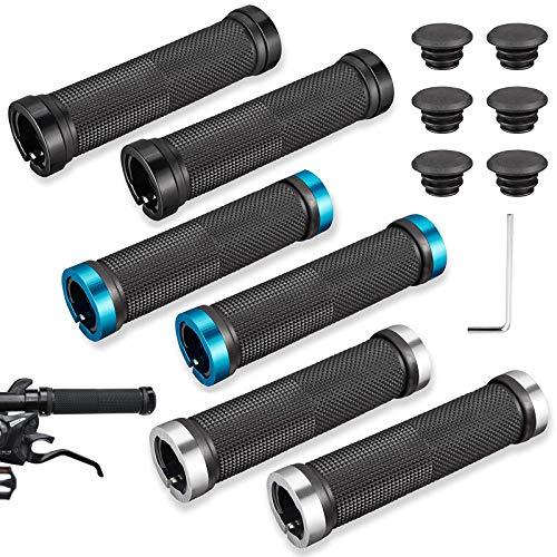 Nother xianzhanEU - 6 empuñaduras para manillar de bicicleta, de goma antideslizante, para bicicleta de montaña, plegable, con cerradura de aluminio + tapa + llave hexagonal M3 (negro/plateado/azul)