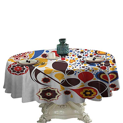 Abstract Outdoors Round Tablecloth Colorful Graphic Design of Floral Motifs Hearts Music Notes Dots Ornamental Art Circular Table Cover 36 inch