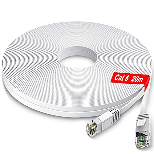 Câble Ethernet 20m - GLCON - Cat 6 Plat Câble de Réseau Haute Vitesse Gigabit 1Gbps RJ45 Compatible avec Cat.5e Cat.6 Cable Internet pour PC PS5/4 LAN Switch Modem Smart TV