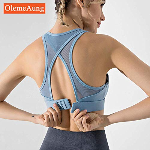 Women's Yoga Broeken Thin Sectie Wear Integrated Sports Ondergoed Dames display Borst Kleine Shockproof Bar Fitness Vest Type Bra vest (Color : Outdoor Blue, Size : Large)