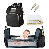 AmWile 3 in 1 Diaper Bag Backpack,Large Capacity Waterproof Travel Nappy Bag,Multifunctional Foldable Baby Crib Changing Table (Black)