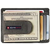 Alpine Swiss Dermot Mens RFID Safe Money Clip Front Pocket Wallet Leather Comes in Gift Box Gray