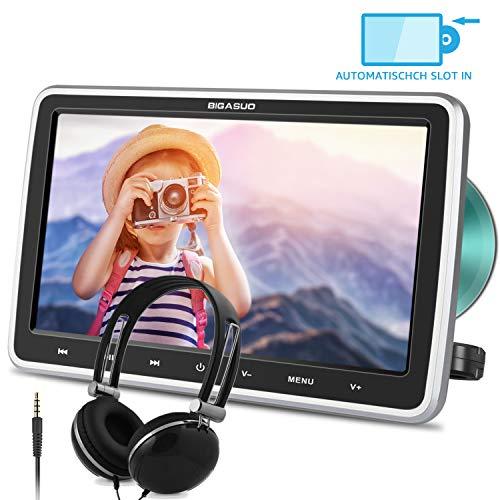 BIGASUO 10.5' Auto DVD Player Tragbarer Kopfstütze DVD Monitor HDMI Eingang 1080P HD Bildschirm mit Kopfhöre USB/SD AV Out & IN