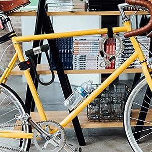 Candado de Bicicleta U con Cable Candado de Antirrobo de Bici Super Fuerte Grillete de 14 mm y Cable de Seguridad de 10 mm x 1,2 m 3 Llaves Soporte de Montaje Resistente a la Intemperie