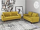 Container Furniture Direct S5459 Mid Century Modern Velvet Upholstered Tufted Living Room Sofa, 69.68' Goldenrod