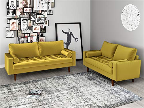 "Container Furniture Direct S5459 Mid Century Modern Velvet Upholstered Tufted Living Room Sofa, 69.68"" Goldenrod"