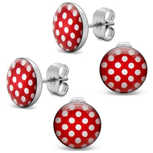 Soul-Cats® 2 par pendientes con puntos, Polka Dots 50's Pinup, color: rojo con puntos