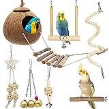 Xionghonglong Juguete para Loros con Campanas,Juguete para Loros,Coco Jaula de pájaros,Columpio para Loro,cuelga la Perca Juguete para Loros de Aves,Hamaca de Madera para Loros (7 Piezas)