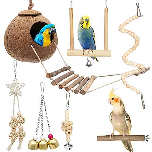 Giocattolo da Masticare Legno per pappagalli,Giocattoli Pappagallo,Gabbia per Uccelli in Cocco Con scala,Giocattoli Pappagallo di Uccelli,Altalena Appesa Giocattoli per pappagalli (7 pezzi)