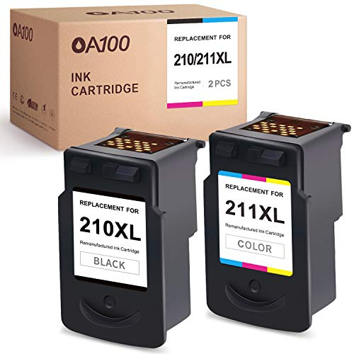 OA100 Remanufactured Ink Cartridge Replacement for Canon 210XL 210 PG-210XL 211 211XL for PIXMA MP250 MP280 MP495 IP2702 MX410 MX340 MX330 (1 Black, 1 Tri-Color, 2 Pack)