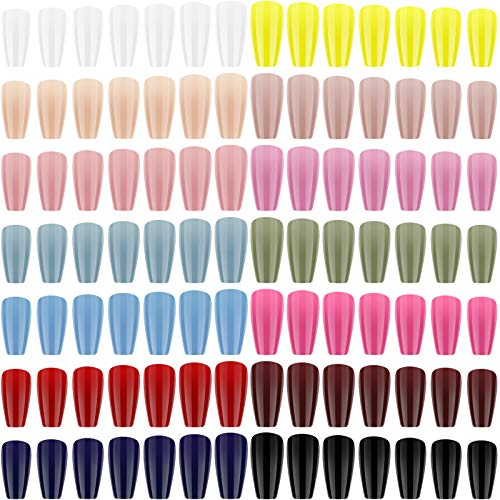 672 Stücke Lang Drücken auf Nägel Ballerina Sarg Glänzend Falsche Nägel Einfarbig Vollständige Abdeckung Gefälschte Nägel Falsche Gel Nägel Kunst Sets für Frauen Nagel Dekoration, 14 Farben