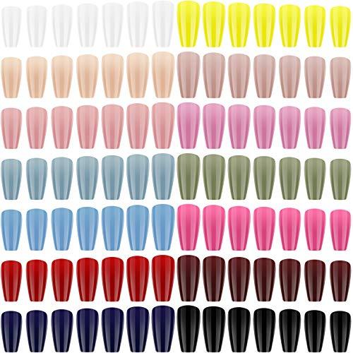 672 Uñas Largas a Presión Uñas Postizas Brillantes de Ataúd de Bailarina Uñas Falsas de Cubierta Completa de Color Sólido Uñas Postizas de Gel Juego de Arte para Mujer Niña Decoración, 14 Colores